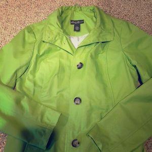 Lime green rain coat